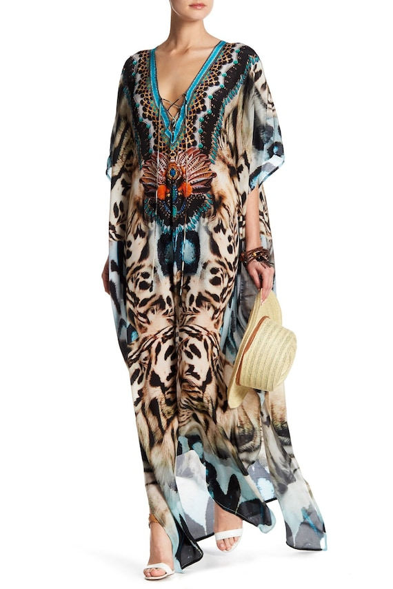 Animal Print Kaftan, Leopard Print Kaftan, Snake Print Kaftan, Kaftans, Long Kaftan Dress, Kaftan Dresses, Silk Kaftan Dress, Beach Kaftans