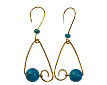 Fine dying brass earrings and magnesite beads, elegant and unique jewel for women at any occasion