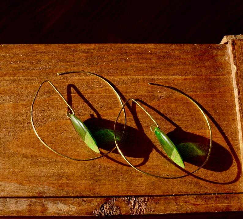 green creoles resin creole golden creoles original creoles with transparent stone Brass Creole earrings