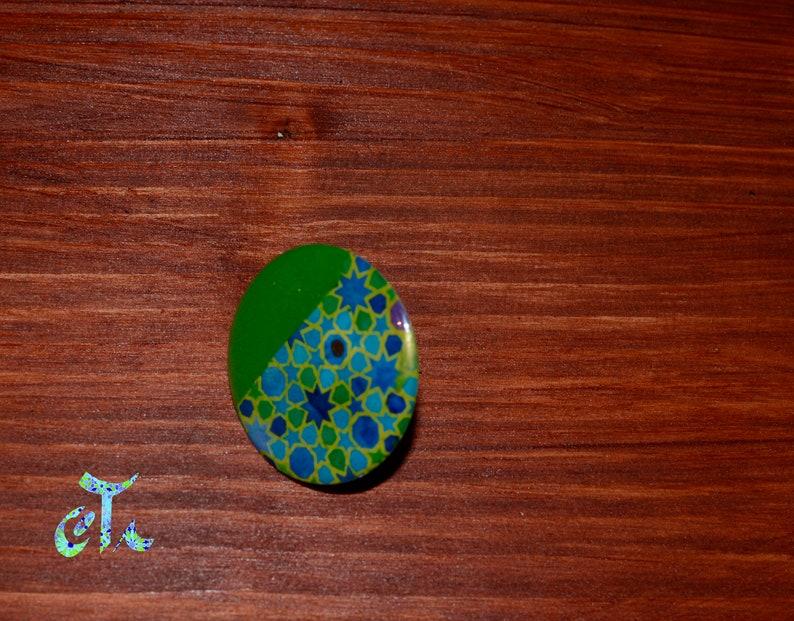 bague ronde, bijou vert bague aux motifs g\u00e9ometriques Bague verte disque ronde ajustable