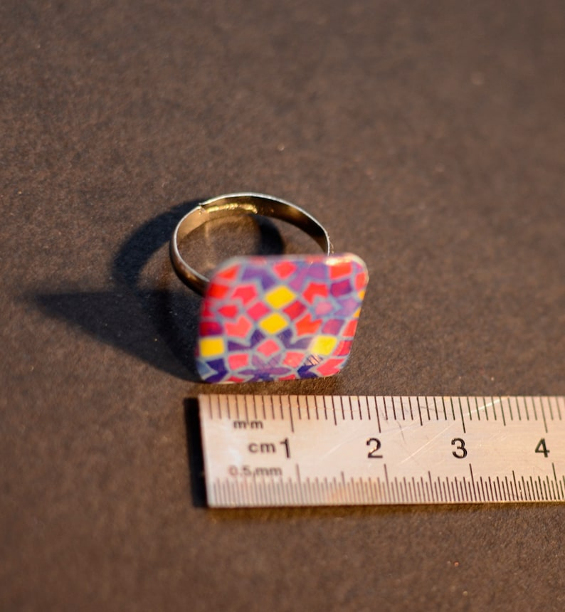 brass jewelry square stone ring ring with geometry motifs resin ring brass ring resin jewelry