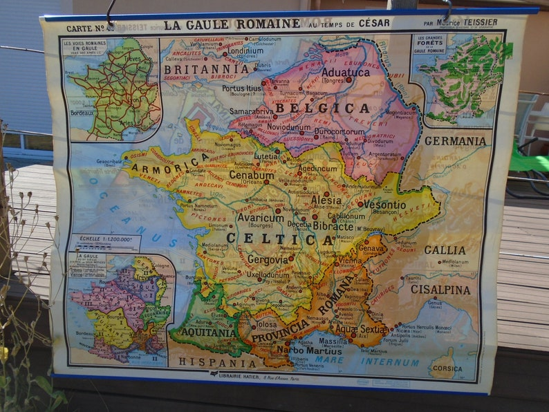 Gaul World Map.School Card French Map Map Of Ancient Rome Roman Gaul At Etsy