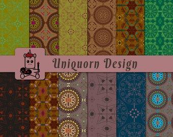 Bohemian, colorful, fun, hip seamless pattern - 12 Digital papers