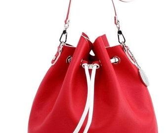 Sarah Jean Solid Bucket Handbag - Racing Red and White