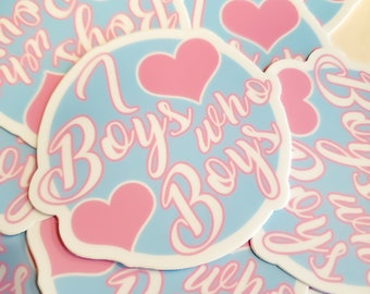 I Heart Boys Love Boys Yaoi Sticker 3 Inch