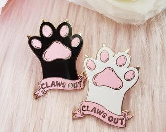 "Claws Out Hard Enamel Pin 1.75"" Cat Paw Toe Cute Kawaii"
