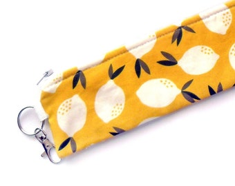 Lemons Reusable Padded Straw Pouch / Straw Holder / Metal Straw Holder / Straw Case / Utensil Case / Pencil Case