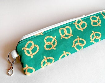 Reusable Padded Zippered Pouch - Cutlery and Straw Case / Straw Pouch / Utensils Bag / Eco Friendly / Waterproof Lined / Pretzels