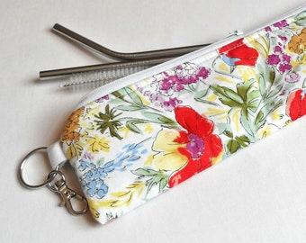 Tulips and Ivy Reusable Padded Straw Pouch / Straw Holder / Metal Straw Holder / Straw Case / Utensil Case / Pencil Case