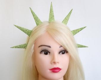 Statue Liberty crown Lady liberty glitter headband Patriotic headpiece Green spikes halo patriotic costume 4th july headband festival crown