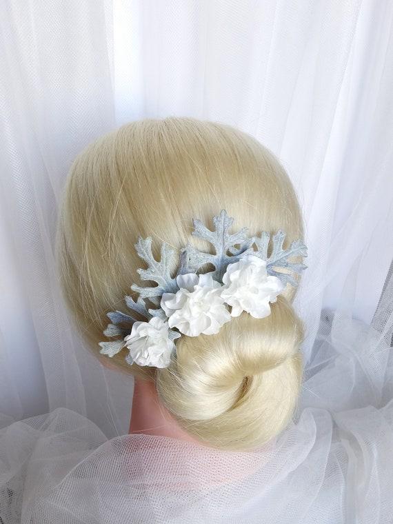 White Flower Grey Leaves Bridal Hair Pins White Flowers Wedding Hair Pins Grey Bridal Flower Hair Pins Winter Wedding Hair Pins