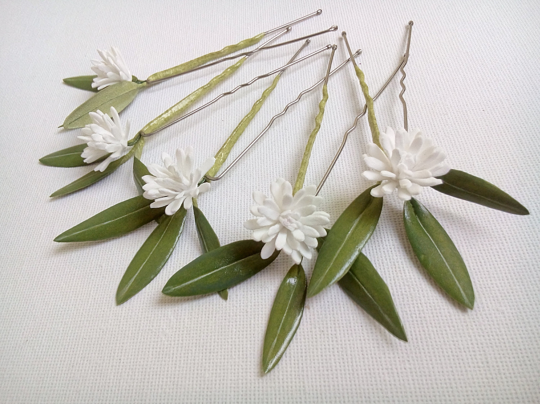 White Flower Hair Pins Wedding Flower Hair Pins White Bridal Etsy