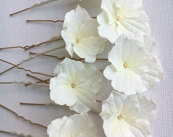 Ivory Bridal Flower Hair Pins Ivory Hydrangea Flower Hair Pins  Wedding Flower Hair Pins Ivory Flower Hair Pins Ivory Wedding Flowers