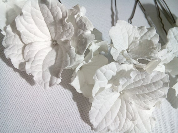 Epingles A Cheveux Fleur Hortensia Blanc Epingles A Cheveux Petite