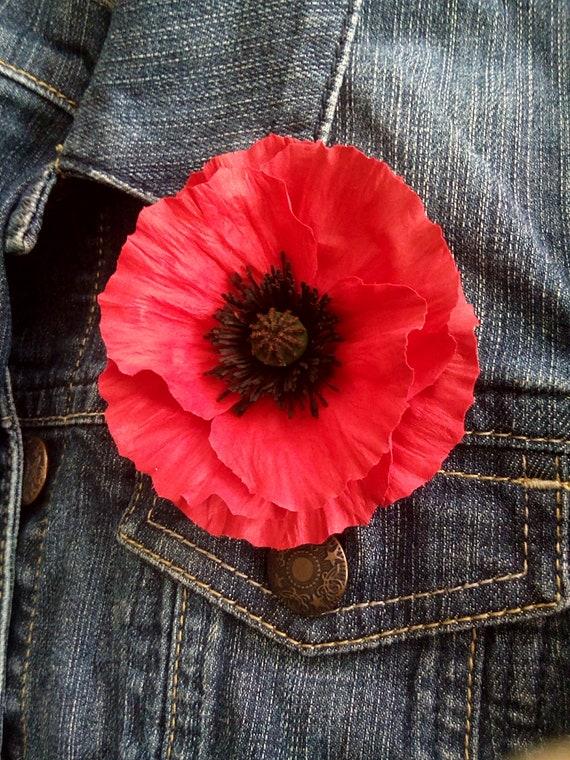 Realistic red poppy brooch poppy flower brooch veterans day etsy image 0 mightylinksfo