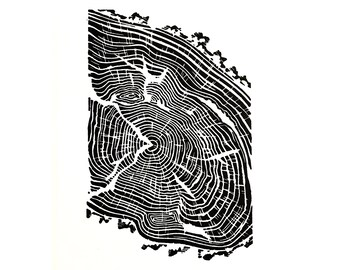 LINOCUT PRINT Carved and printed by hand - HANDMADE Tree Ring linocut prints A4 size 21x29.7cm Wall Art Original Art Signed