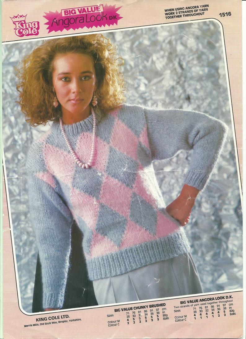 7ab49d29a Vitage knitting pattern ladies jumper King Cole 1516