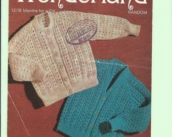 vintage knitting pattern, baby cardigan