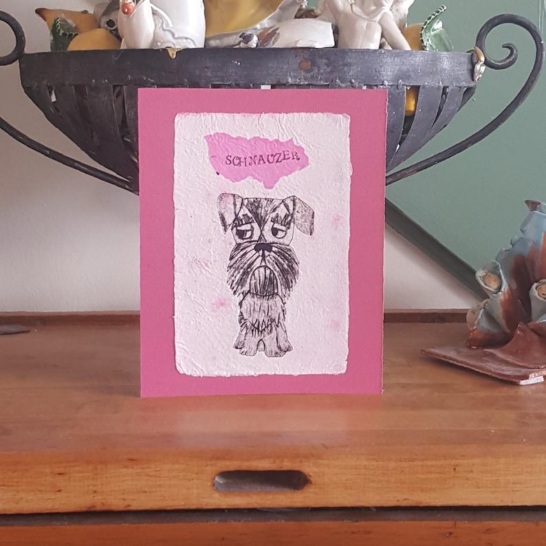 Schnauzer Print Handmade Paper Wall Art Collagraph Original Whimsical Dogs