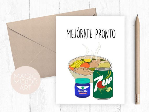 Mejorate Pronto Card Get Well Soon Spanish Card Get Well Soon