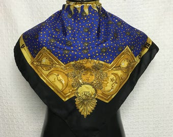Vintage scarf echarpe carre god of sun motive /baroque design/versace/gucci/hermes/chanel/fendi/mcm/twilly/