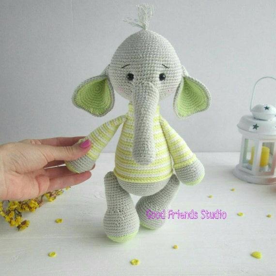 Knitted Elephant Elephant Stuffed Animal Toy Plush Elephant Etsy