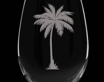 Palm Tree stemless wine glasses,  set of 2! 16oz etched