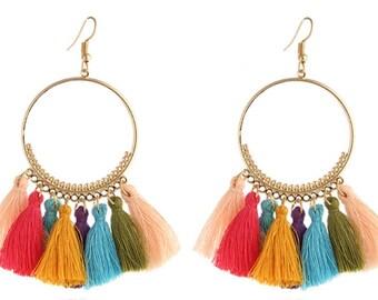 Tassel Earrings in Multiple Colours - Funky jewellery - Festival Jewellery - Boho Jewellery