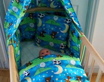 New Handmade Babys 2 Piece Lacy Pramset Pram set Blanket Quilt Romany lace