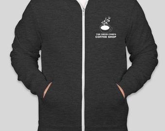 Coffee shop zip up hoodie