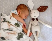 Bunny doll, with name, fabric doll, easter bunny, Baby Boy Gift, heirloom doll, Personalized bunny, Newborn Boy Gift, Baby Gift for Boys