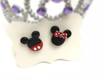 Mickey and Minnie Earrings, Polymer Clay Earrings, Mickey Mouse, Minnie Mouse