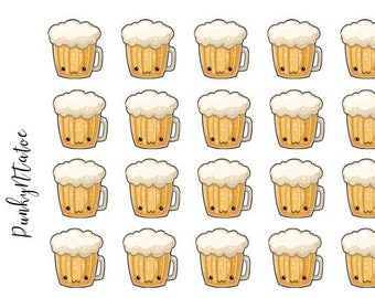 Kawaii Happy Hour Beers Planner Stickers