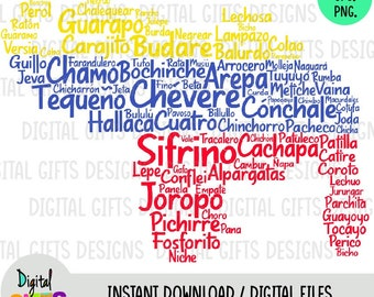 Map Venezuelan words, Svg design, Png, Jpg Design, Silhouette, Cricut, Cut Files.