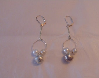 Silver Tone Faux Pearl Earrings