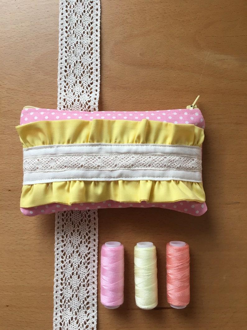 Pink polka dots /& yellow ruffles pouch