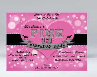 victoria secret pink party invitations etsy