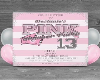 Victoria Secret Pink inspired Customized Birthday party invitation teen girl Slumber party digital download