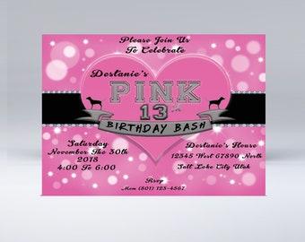 Victoria Secret Pink Inspired birthday invitation for teen girls Tween To Teen 13th birthday invitation Instant Download PDF File