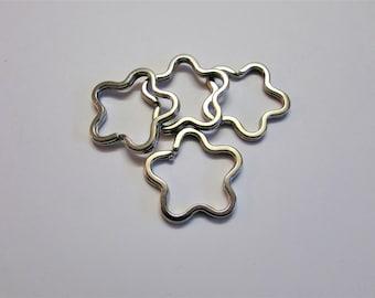 Set of (10) Flower Split Rings, Flower Keyrings, Flower Keyring, Keyrings, Flower Split Ring, Flower Keychain, Flower Ring, Flower Keyring