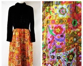 Vintage 1960s-70s Black Velvet and Bright Floral Quilted Maxi Dress- Size M to L- Hippie Boho