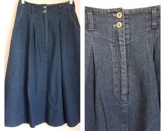 df2bf5e9b Vintage 80s Yoke Waist A-Line Denim Skirt- Size 6- Dark Wash- Koret City  Blues- Made in the USA
