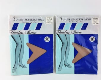 855b1d4c72ea Vintage Seamless Mesh Stockings Size 10 - 2 Packages (4 Pairs) Beige Thigh  High Hose