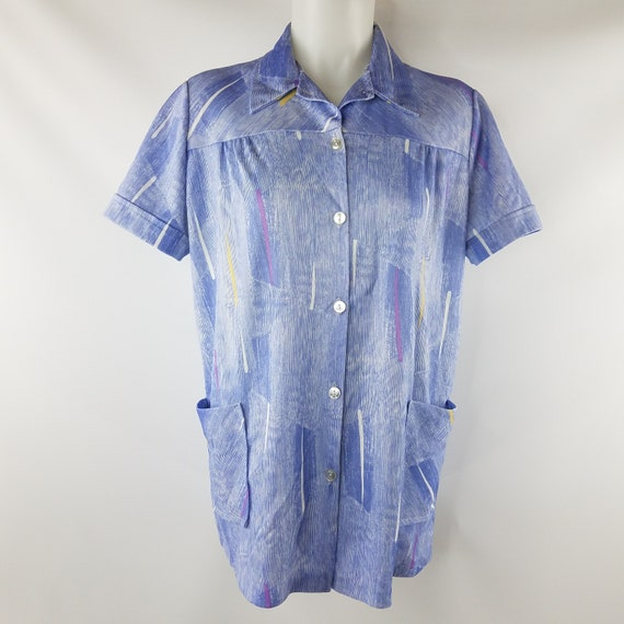 Vintage 70s-80s Polyester Work Smock Top Blouse- S
