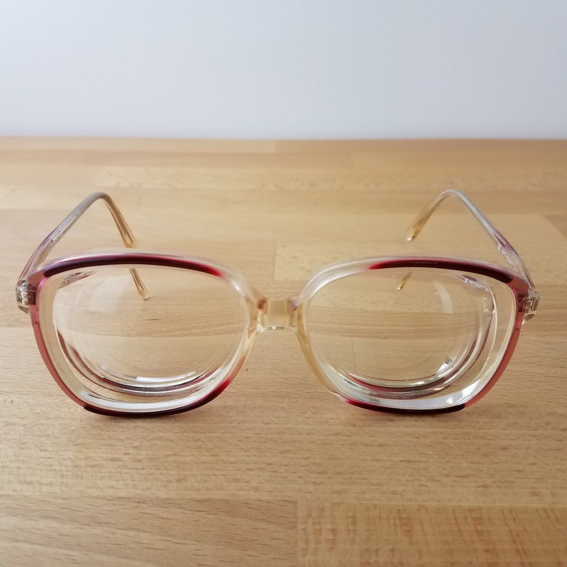 Vintage 80s Pink Cranberry Oversize Square Eye Glass Frames- Art Craft USA 132- Colorama 3 Cranberry- Statement Glasses