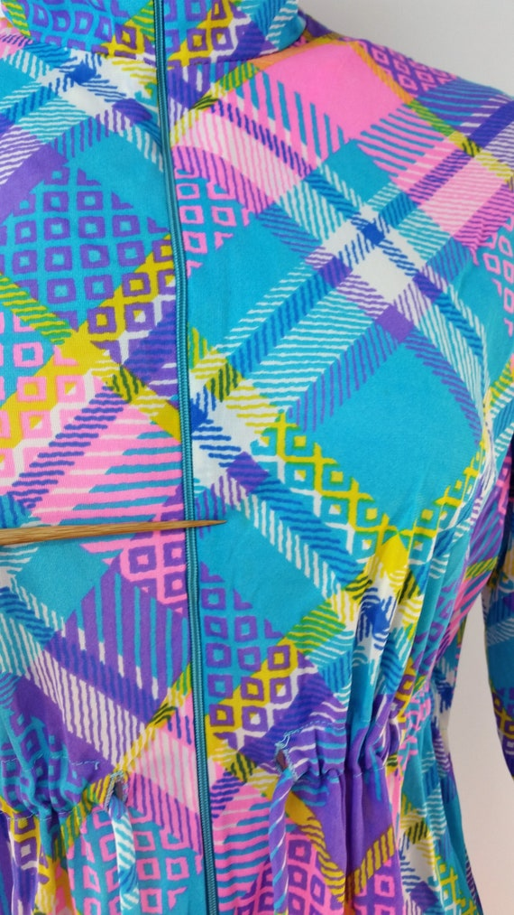 Vintage 60s Funky Patchwork Polyester Maxi Lounge… - image 7