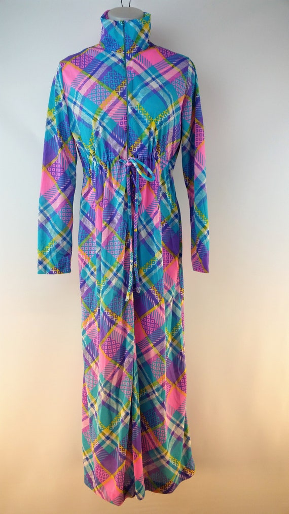 Vintage 60s Funky Patchwork Polyester Maxi Lounge… - image 2