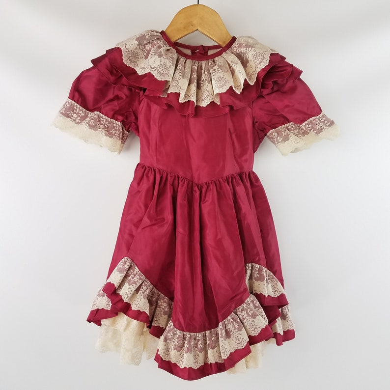 Wine and Ecru Size 4 Pageant Twirl Circle Dress Vintage Girl/'s Lace Ruffled Dress by Lilo of California