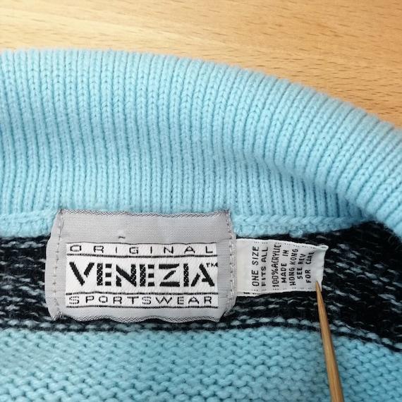 Vintage 80s-90s Venezia Oversize Turquoise & Blac… - image 7
