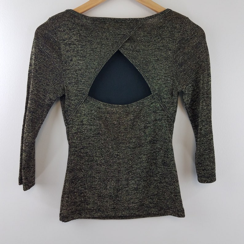 Keyhole Crossover Back Vintage Metallic Gold /& Black knit 34 Sleeve Top Size M Made in the USA